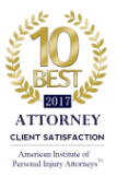 2017 - 10 Best Attorney Client Satisfaction - American Institute of Personal Injury Attorneys